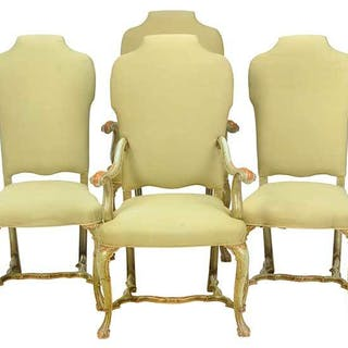 Set of Queen Anne Style Painted Dining Chairs