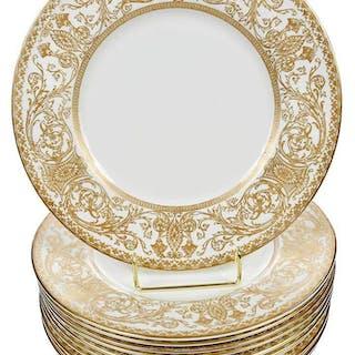 12 Royal Worcester Gilt Service Plates