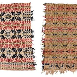 Two Pennsylvania Jacquard Wool Coverlets