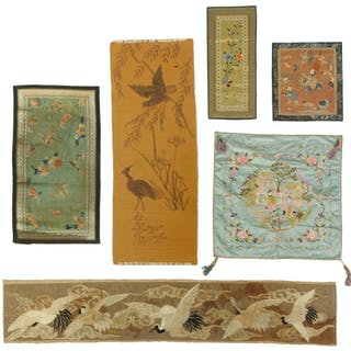 Eight Asian Silk Embroidered Panels