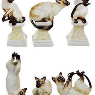 Six Andrea Spadini Ceramic Siamese Cats