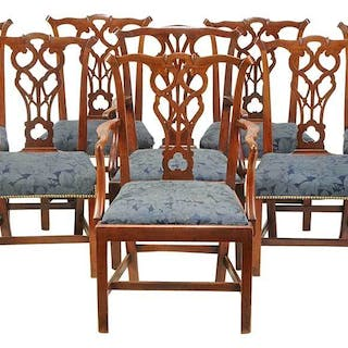 Eight George III Carved Mahogany Dining Chairs