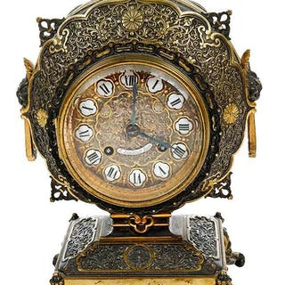 French Chinoiserie Gilt Bronze Table Clock
