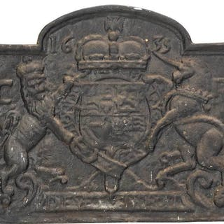 Cast Iron Fireback with British Coat of Arms
