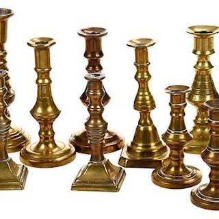 18 Miniature Brass Candlesticks