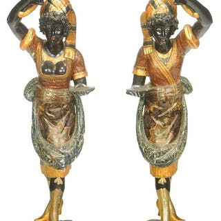 Pair Venetian Polychrome Blackamoor Torchieres