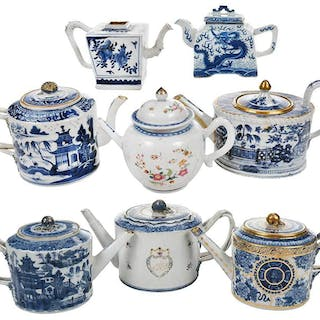 Eight Chinese Export Blue and White Teapots