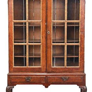 Irish George II Carved Oak Bookcase Cabinet