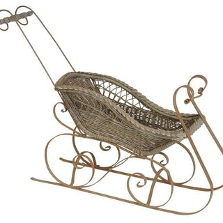 Vintage Wicker and Iron Doll Sleigh