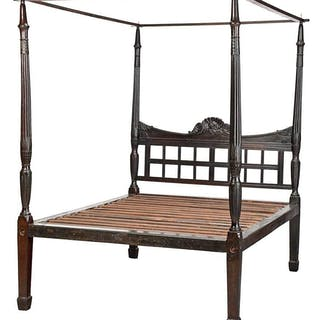 Fine Federal Rice Carved Four Poster Bed