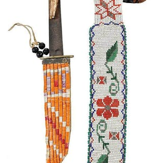Quilled Knife Sheath and Loom Beaded Necktie