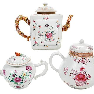 Three Famille Rose Porcelain Covered Teapots