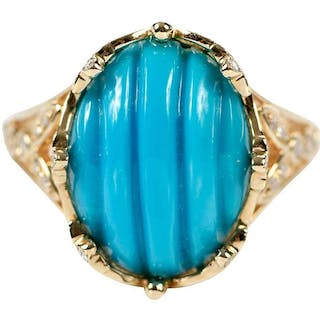 14kt. Turquoise and Diamond Ring