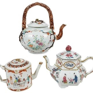 Three Famille Rose Porcelain Teapots
