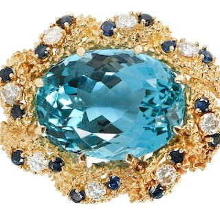 18kt. Aquamarine, Diamond and Sapphire Brooch