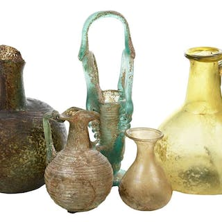 Five Roman Iridescent Glass Bottles
