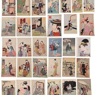 33 Woodblock Prints, Geisha and Domestic Scenes