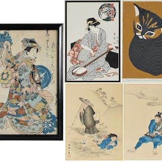 Five Framed Artworks, Cat and Portraits