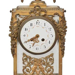 Louis XIV Style Ormolu and Marble Clock