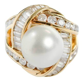 Charles Krypell 18kt. Diamond and Pearl Ring
