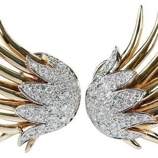 14kt. Diamond Earclips