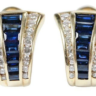 14kt. Diamond and Sapphire Earclips