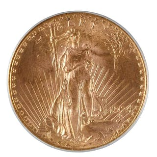 1924 St. Gaudens $20 Gold PCGS MS-65