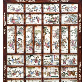 Framed Chinese Porcelain Tile Wall Plaque