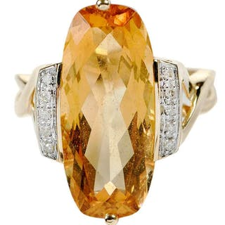 14kt. Citrine and Diamond Ring