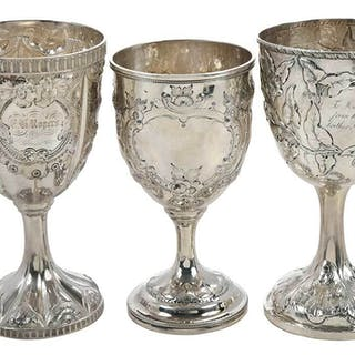 Three Coin Silver Goblets