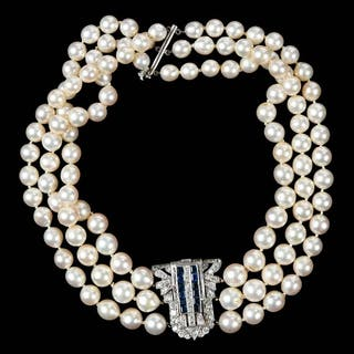 14kt. Gold, Pearl and Sapphire Choker Necklace