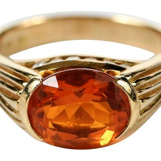 18kt. Fire Opal and Diamond Ring