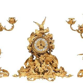Louis XV Style Gilt Bronze Clock Garniture