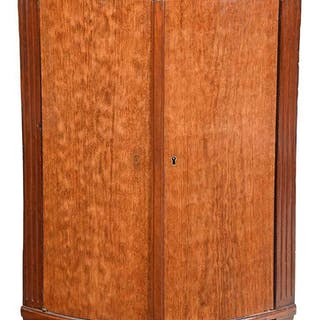 Neoclassical Mahogany Marble Top Corner Cabinet