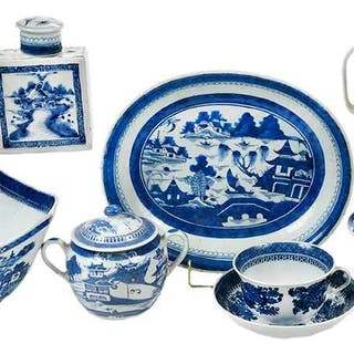 Eight Pieces Canton Blue and White Porcelain
