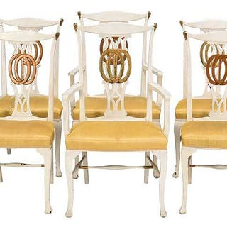 Set of Eight Neoclassical Style Dining Chairs