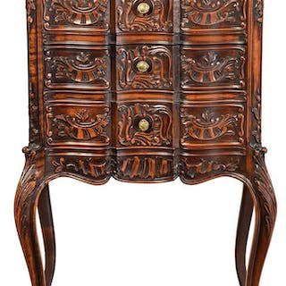 Provincial Louis XV Style Marble Top Commode