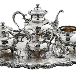 Four Piece Sterling Tea Service and Strainer