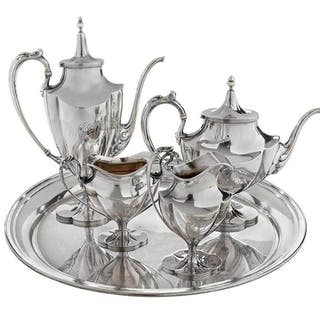 Four Piece Sterling Tea Service, Tray