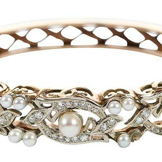 14kt. Diamond and Pearl Hinged Bangle Bracelet