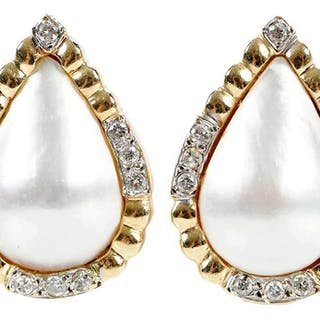 14kt. Diamond and Mabe Pearl Earrings