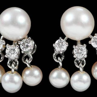 14kt. Diamond and Pearl Earclips
