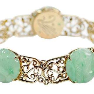 14kt. Carved Hardstone Bracelet