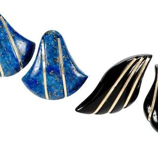Two Pairs Gemstone Earrings