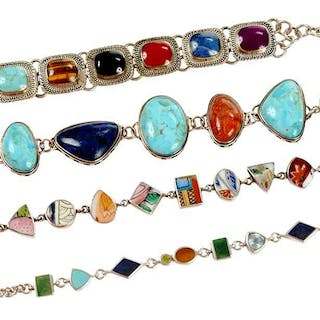 Four Sterling Silver and Gemstone Bracelets