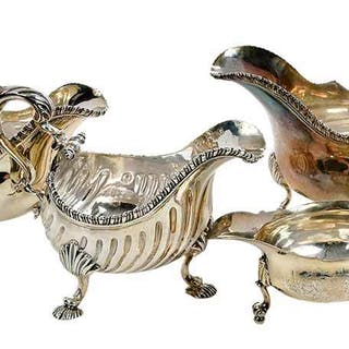 Four English Silver Sauce Boats