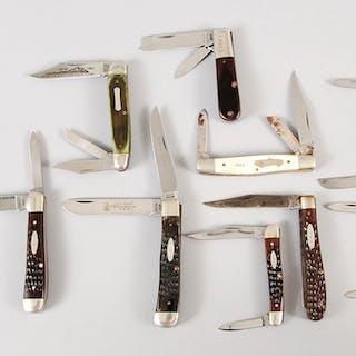 Eight Vintage Folding Schrade, Case Knives