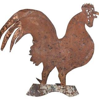 American Folk Art Sheet Iron Rooster Weathervane