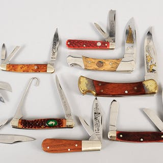 Eight Assorted Commemorative Folding Knives