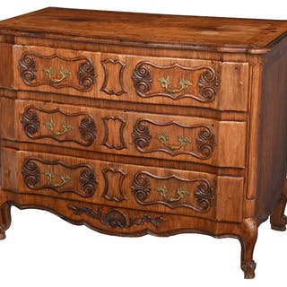 Provincial Louis XV Style Bookmatched Walnut Commode